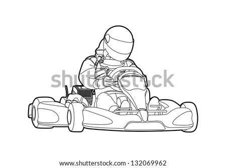 Outline karting on white background - stock vector