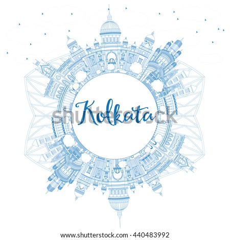 Outline Kolkata Skyline with Blue Landmarks and Copy Space. Vector Illustration. Business Travel and Tourism Concept with Historic Buildings. Image for Presentation Banner Placard and Web Site. - stock vector