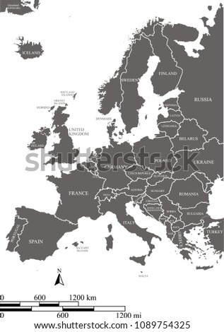 outline map europe countries labeled vector illustration with scales of miles and kilometers european countries