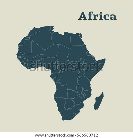 Outline Map Of Africa. Isolated Vector Illustration. Map Of The African  Continent. Map