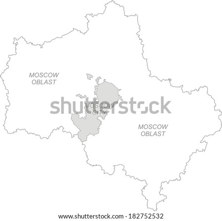 Outline map of Moscow region - Moscow oblast and Moscow city (Russia, as on 01th July, 2012) - stock vector