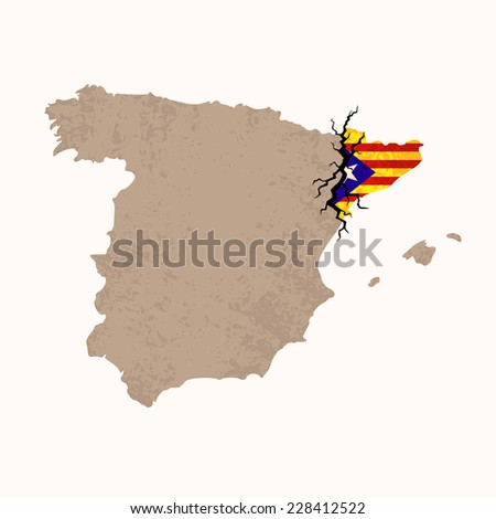 Outline map of Spain and Catalonia with black crack. Illustration for a referendum on Catalan independence. - stock vector
