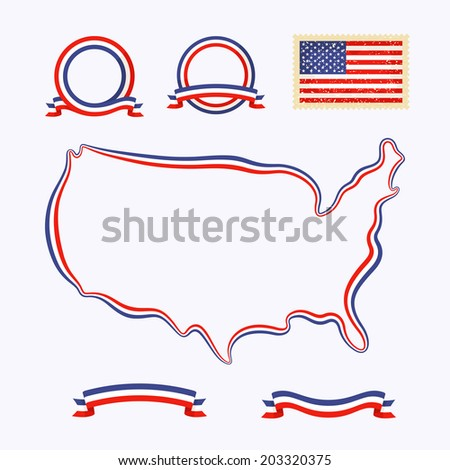 Outline Map Usa Border Marked Ribbon Stock Vector - Outline map us