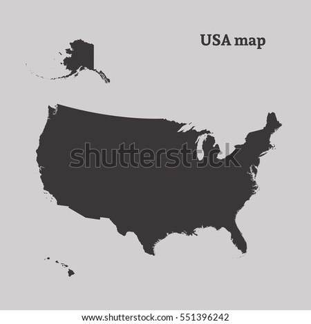 Outline Map Usa Isolated Vector Illustration Stock Vector - Outline of us map