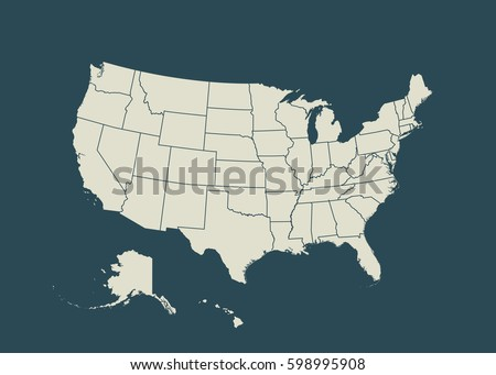 Outline Map Of Usa Isolated Vector Ilration United States Of America Us Map