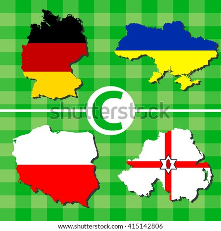 Outline maps of the participating countries football tournaments. C: Germany, Ukraine, Poland, North Ireland. - stock vector
