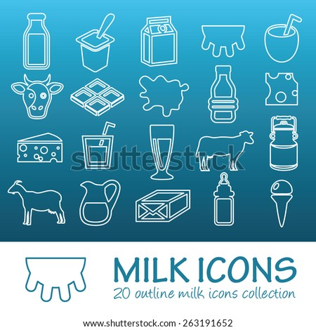 outline milk icons - stock vector