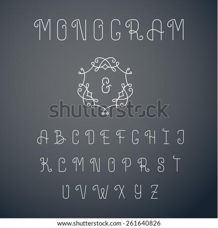 Outline monogram font. Elegant lineart design, vector illustration - stock vector