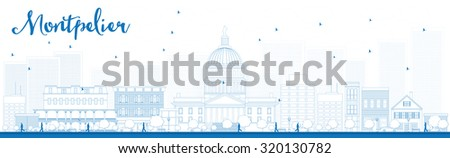 Outline Montpelier (Vermont) city skyline with blue buildings. Vector illustration. Business travel and tourism concept with modern buildings. Image for presentation, banner, placard and web site. - stock vector