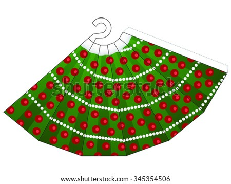 Outline of a Christmas Tree to cut out and glue into a 3D decoration - stock vector