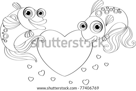outline of a happy smiling fish and heart shape