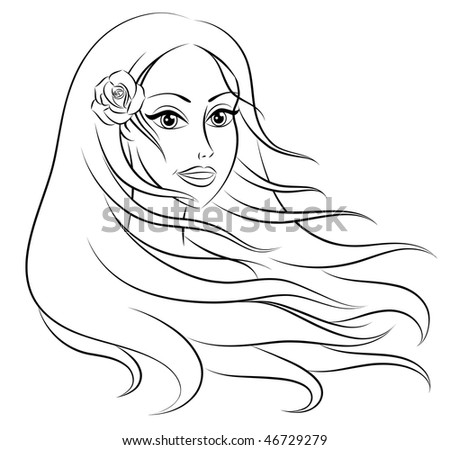 outline head young beautiful woman long stock vector