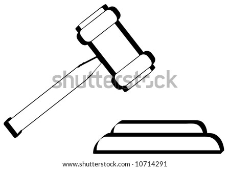 outline of gavel - hammer of judge or auctioneer - vector - stock vector