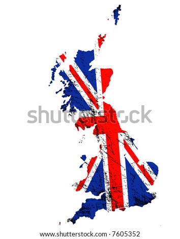 Outline of Great Britain with grunged Union Jack flag