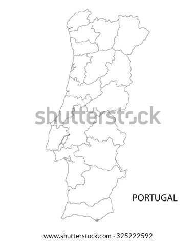 outline of Portugal map (districts on separate layers) - stock vector