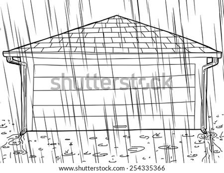 Closed Door Drawing rain storm closed garage gutters stock vector 258011816 - shutterstock