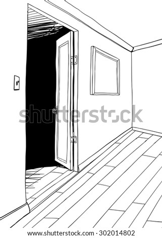 Outline of room with dark doorway and picture frame