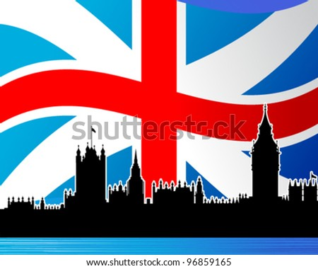 outline of the Westminster palace on a background the flag of Great Britain