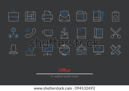 Outline office icons. White and blue colorLine art. Stock vector - stock vector
