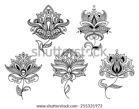 Outline paisley flowers and floral elements, for indian or persian ornament design - stock vector