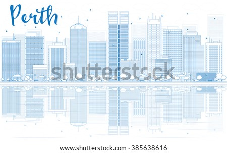 Outline Perth skyline with blue buildings and reflections. Vector illustration. Business travel and tourism concept with place for text. Image for presentation, banner, placard and web site. - stock vector
