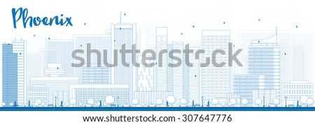 Outline Phoenix Skyline with Blue Buildings. Vector Illustration. Business travel and tourism concept with modern buildings. Image for presentation, banner, placard and web site. - stock vector