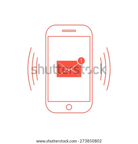 outline red smartphone with one email icon. concept of spam, service, marketing, mailing, announcement, reminder. isolated on white background. flat style trendy modern design vector illustration - stock vector