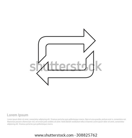 Outline Refresh arrow Icon, Vector Illustration, Flat pictogram icon
