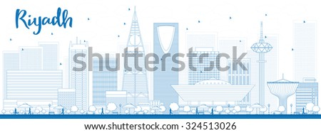 Outline Riyadh skyline with blue buildings. Vector illustration. Business and tourism concept with skyscrapers. Image for presentation, banner, placard or web site - stock vector