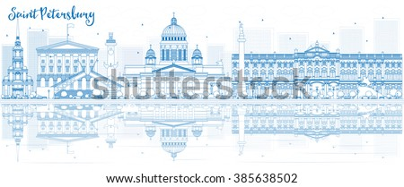 Outline Saint Petersburg skyline with blue buildings and reflections. Vector illustration. Business travel and tourism concept with place for text. Image for presentation, banner, placard and web site - stock vector