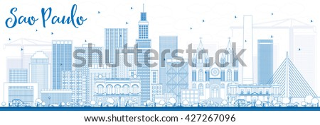 Outline Sao Paulo Skyline with Blue Buildings. Vector Illustration. Business Travel and Tourism Concept with Modern Buildings. Image for Presentation Banner Placard and Web Site. - stock vector