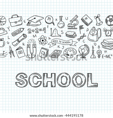 Outline School Icons Doodle Symbols Education Stock Vector Hd
