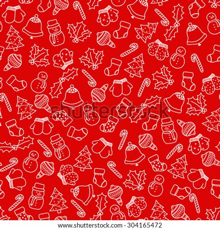 Outline seamless pattern with christmas elements - Christmas stocking, mittens, candy cane, holly berries, snowman and with xmas tree. White doodles on red background. Vector illustration eps8 - stock vector