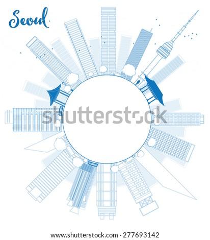 Outline Seoul skyline with blue building and copy space Vector illustration. Business travel and tourism concept with place for text. Image for presentation, banner, placard and web site. - stock vector
