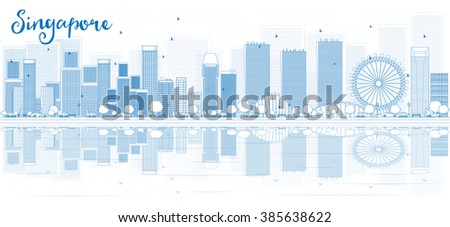 Outline Singapore skyline with blue buildings and reflections. Vector illustration. Business travel and tourism concept with place for text. Image for presentation, banner, placard and web site. - stock vector