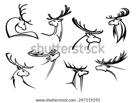 Outline sketch deer heads with proud profile and large antlers isolated on white for tattoo or mascot design - stock vector
