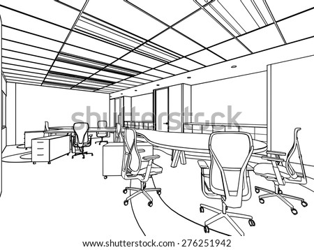 outline sketch drawing of a interior space office - stock vector