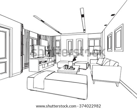 Living room line drawing stock images royalty free images for Living room outline