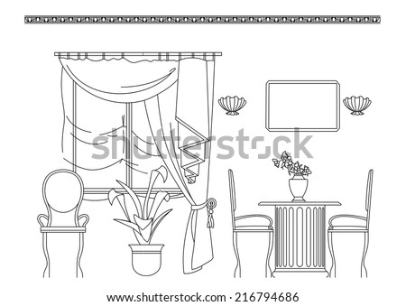 Outline sketch of interior. Graphical hand drawing interior. Vector illustration - stock vector