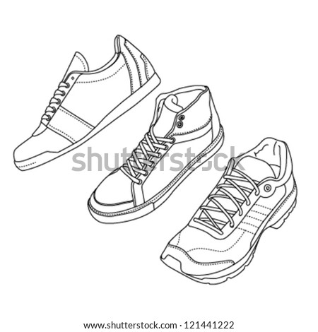 Outline sport shoes set from different angles - stock vector