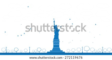Outline Statue of Liberty New York. Vector Illustration - stock vector