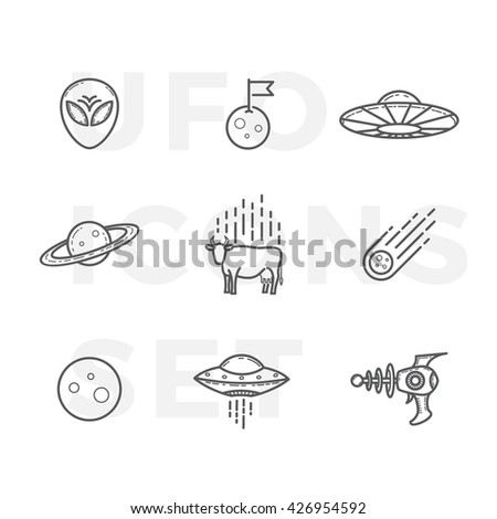 Outline Style Abstract Vector UFO or Alien Icons Set. Premium Space Symbols and Signs. Isolated. - stock vector