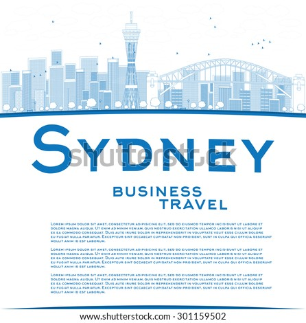 Outline Sydney City skyline with blue skyscrapers and copy space. Business travel concept. Vector illustration - stock vector