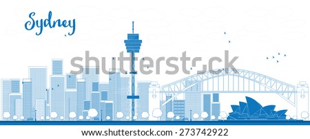 Outline Sydney City skyline with skyscrapers. Vector illustration. Business travel and tourism concept with modern buildings. Image for presentation, banner, placard and web site. - stock vector