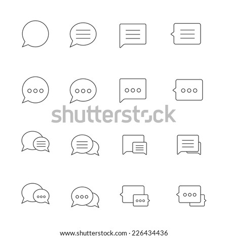 Outline thin Speech bubble icons set on white background. Vector illustration. - stock vector