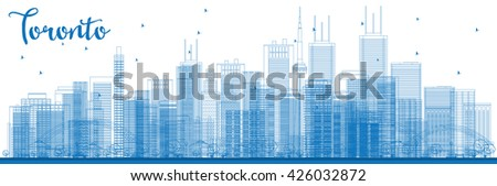 Outline Toronto skyline with blue buildings. Vector illustration. Business travel and tourism concept with modern buildings. Image for presentation, banner, placard and web site. - stock vector