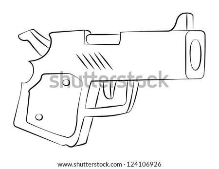 Outline vector a gun on white background. - stock vector