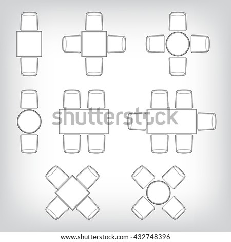 Outline vector Icons collection as design elements, a set of sim - stock vector