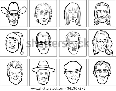 outline vector illustration of diverse business people faces - stock vector