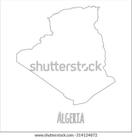 Outline vector map of Algeria. Simple Algeria border map. Vector silhouette on white background. - stock vector